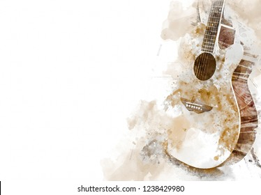 Abstract beautiful acoustic guitar in the foreground on Watercolor painting background and Digital illustration brush to art.