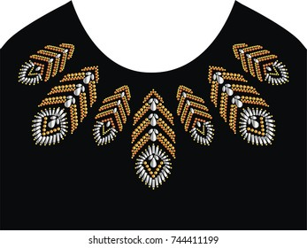 Abstract beautiful applique rhinestones, Rhinestone applique for t-shirt hot-fix transfer, Motif neck line design graphics.