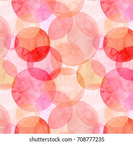 Abstract beautiful artistic tender wonderful transparent bright autumn orange pink red circles different shapes pattern watercolor hand illustration. Perfect for textile, wallpapers, and backgrounds