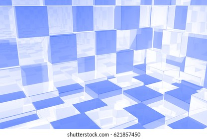 Abstract beautiful creative background of luminous white and blue extended and dented cubes wall, room with reflections for desktop, site, banner, backdrop, wallpapper. 3d Render Illustration
