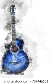 Abstract beautiful Guitar in the foreground, Watercolor painting background and Digital illustration brush to art.