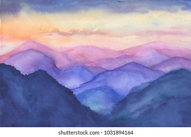 Abstract beautiful landscape with silhouettes of mountains and forest at sunset, or sunrise. View of foggy hills, cloudy sky. Watercolor hand drawn painting illustration.