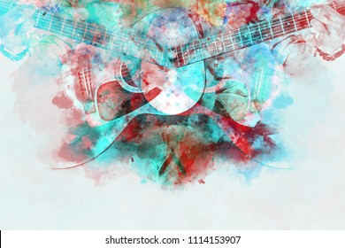 Abstract beautiful man playing Guitar in the foreground on Watercolor painting background and Digital illustration brush to art.