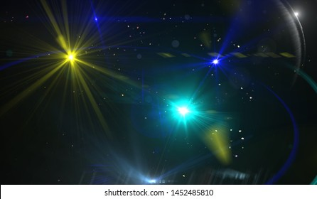 Abstract beautiful rays and stars of light on black background. Beautiful multicolored illustration.