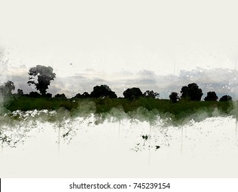 Abstract beautiful tree and Field on colorful watercolor painting background.