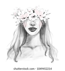 Abstract beautiful woman face portrait with flower wreath in long hair drawn in black and white pencil and watercolor sketch for fashion print card design, art illustration.