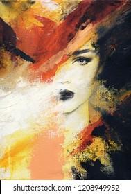 abstrakte schöne Frau. Modegrafik. Acrylmalerei