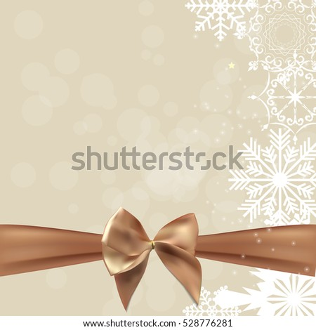 abstract beauty christmas and new year background with bow ribbon illustration