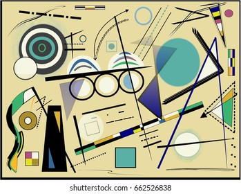 Abstract   beige  background ,inspired by the  painter kandinsky