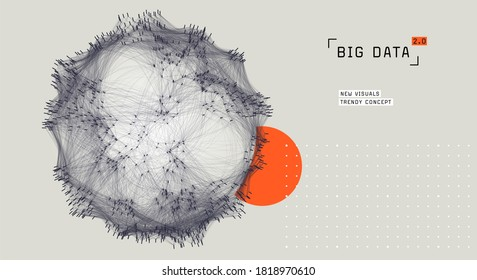 Abstract big data visualization. Cluster analysis. Cloud data storage representation. Distributed network. Social media graph.