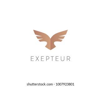 Abstract bird logo design. Creative eagle symbol. Luxury falcon hawk logotype.