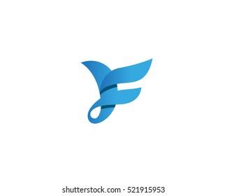 Abstract bird logo design. Creative color symbol. Luxury letter F logotype.
