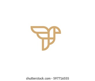 Abstract bird logo design. Creative eagle line symbol. Luxury linear falcon hawk logotype.