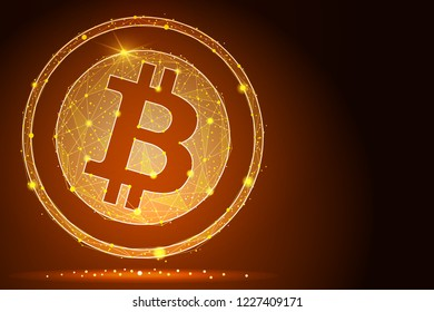 abstract Bitcoin digital currency coin damage world finance system .isolated from low poly wireframe stars background. abstract polygonal image mash line and point.