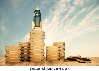 Abstract bitcoin rocket on golden coin piles. Sky with clouds background. Startup, cryptocurrency and venture capital concept. 3D Rendering