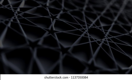 Abstract black arabic girih pattern background. Extruded muslim ornament. Interior design concept. 3d render illustration. Islamic geometry pattern. Polygonal surface. Perspective view