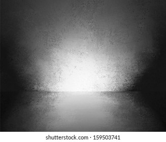 abstract black background empty room interior wall floor reflection illustration or 3d box display showcase for product ad brochure layout, vintage grunge background texture, blank stage or studio