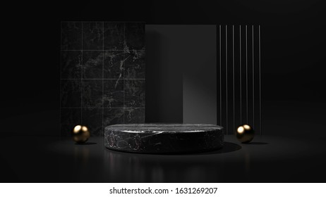 Abstract black background with geometric shape podium for product. 3d rendering