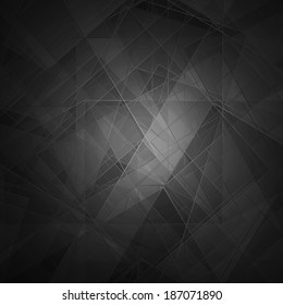 Abstract black background, modern geometric line designs and triangle diamond and square shape patterns with glass texture layout