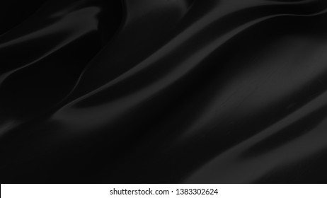 Abstract black background. Smooth black wave . Scratched Plastic. Dark luxury texture. Oil, petroleum, rock-oil. Silk, satin. Black tar, gum. 3D illustration