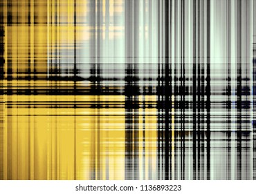 Abstract black blurred lines on a yellow and light blue background