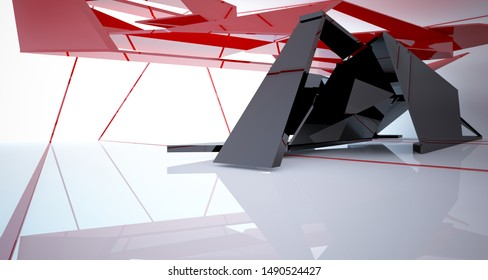 Abstract black and colored gradient  interior multilevel public space with window. 3D illustration and rendering.