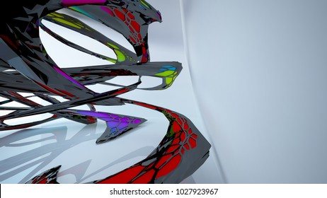Abstract black and colored gradient parametric interior with window. 3D illustration and rendering.