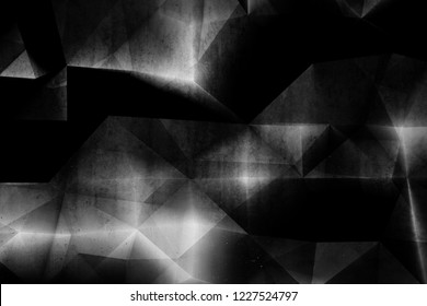 Abstract black concrete background with grungy low poly mosaic pattern on the wall, 3d render illustration