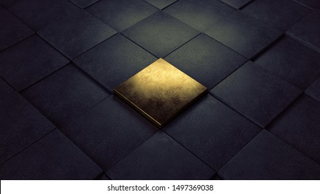 Abstract black concrete cubes floor with one old golden brick in the middle. One of a kind. 3d Illustration