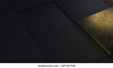 Abstract black concrete cubes pattern background closeup with one golden brick. One of a kind. 3d Illustration