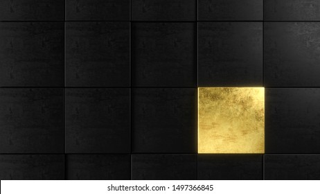 Abstract black concrete cubes wall background with one golden brick. One of a kind. 3d Illustration