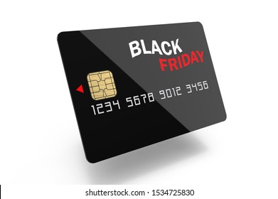 Abstract Black Friday credit card 3d rendering on white background