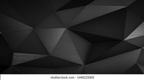Abstract black futuristic polygonal shape of triangulated surface. Low poly crystal random pattern background. 3d rendering.