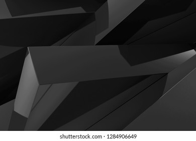 Abstract Black Geometry Background. 3D Rendering