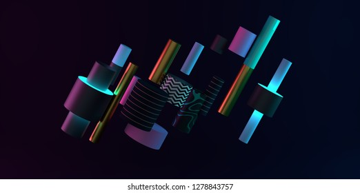 Abstract black, gold and teal colored geometric shapes. Memphis inspired.  3D render/rendering