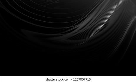 Abstract black gray gradient geometric background. Neon light curved lines and shape with color graphic design.