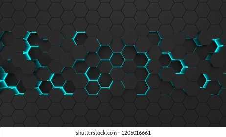 Abstract black hexagonal surface. Futuristic and technological concept. 3d render illustration