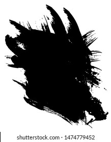 Abstract black ink on white background, space for text