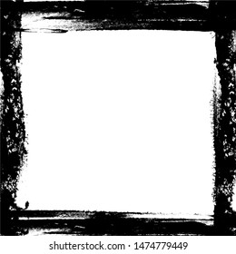 Abstract black ink square frame on white background, space for text