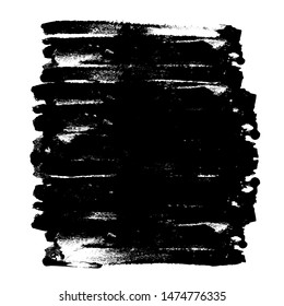 Abstract black ink square on white background, space for text