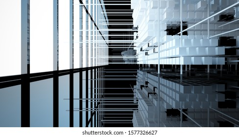 Abstract black  interior from array white and green cubes  with window. 3D illustration and rendering.