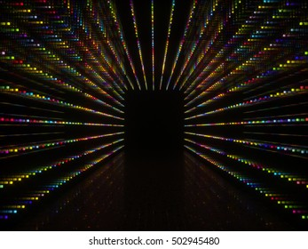 Abstract black interior with festoon twinkle lights around it. Colorful LED lighting against a dark background. 3d rendering illustration.