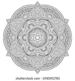 Abstract black invitation on white background. Geometric shape. Minimal floral pattern. Abstract icon. Geometric art poster. Old wallpaper. Geometric frame. Mandala. Minimal style. Retro style.