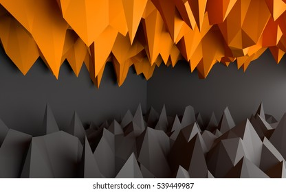 Abstract black and orange background. 3D Rendering