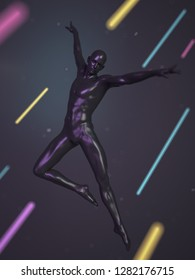 Abstract black plastic human body mannequin with neon colors lines over black background. Action dance jump ballet pose. 3D rendering illustration. Modern colorful poster design
