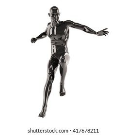 Abstract black plastic human body mannequin over white background. Jumping pose. 3D rendering illustration