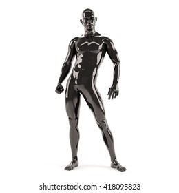 Abstract black plastic human body mannequin over white background. Relax standing pose. 3D rendering illustration