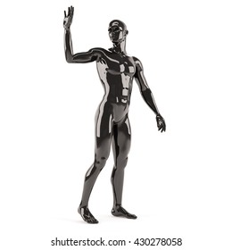 Abstract black plastic human body mannequin over white background. Greeting standing pose. 3D rendering illustration