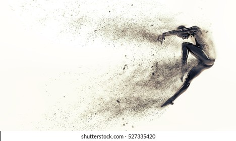 Abstract black plastic human body mannequin figure with scattering particles over white background. Action dance jump ballet pose. 3D rendering illustration