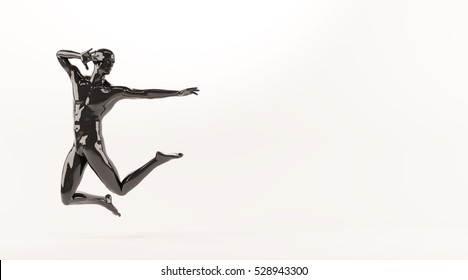 Abstract black plastic human body mannequin figure over white background. Action jumping pose. 3D rendering illustration